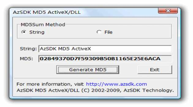 AzSDK MD5 ActiveX
