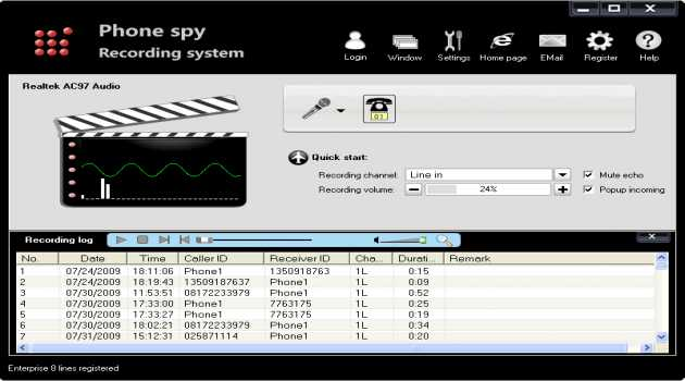 Phone spy telephone recording system