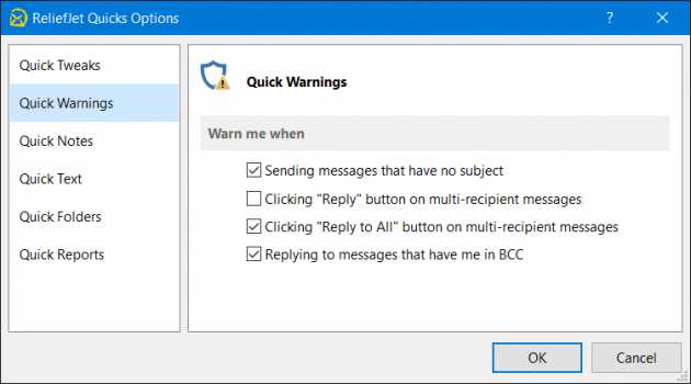 ReliefJet Quick Warnings for Outlook