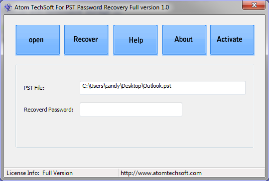 Atom TechSoft PST Password Recovery