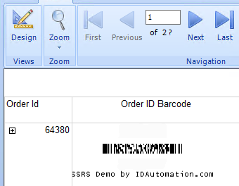 SSRS PDF417 2D Barcode Generator