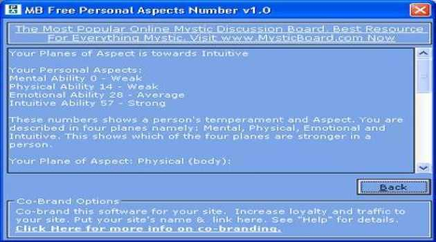 MB Personal Aspects Number