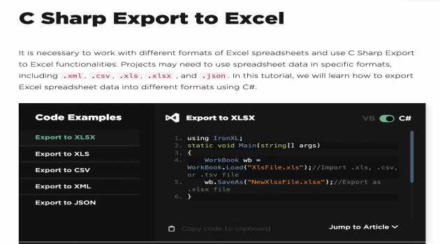 Csharp Export to Excel