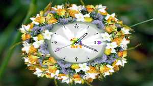 7art White Flower Clock ScreenSaver