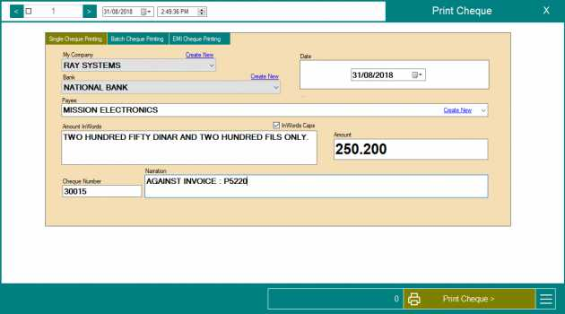 ChequePulse  Cheque Printing Software